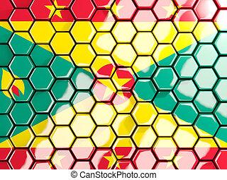 Flag of grenada, hexagon mosaic background