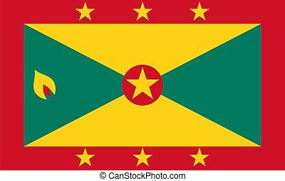 Flag of Grenada. Illustration over white background