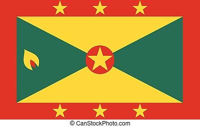 Flag of Grenada in national colors, vector