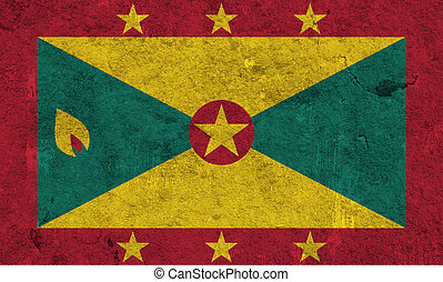 Flag of Grenada on weathered concrete