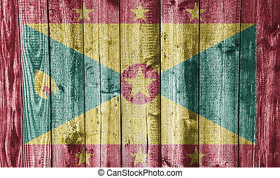 Flag of Grenada on weathered wood