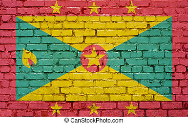 Flag of Grenada painted on brick wall, background texture