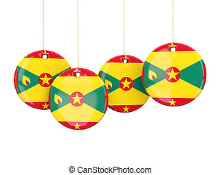 Flag of grenada, round labels
