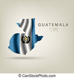 Flag of GUATEMALA as a country with shadow