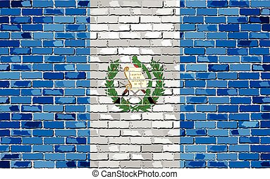 Flag of Guatemala on a brick wall