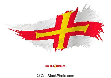 Flag of Guernsey in grunge style with waving effect.