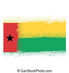 Flag of Guinea Bissau. Symbol has a Detailed Grunge Texture.