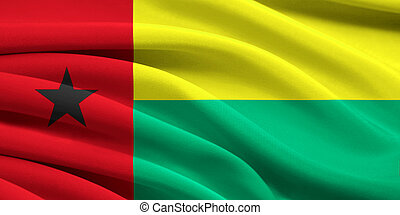Flag of Guinea-Bissau waving in the wind