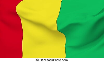 Flag of Guinea - Flag of the Guinea waving in the wind....