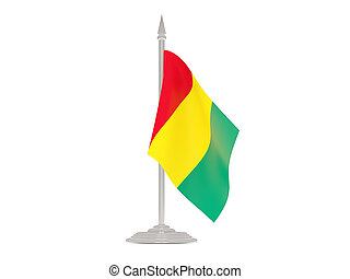 Flag of guinea with flagpole. 3d render