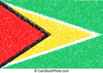 Flag of Guyana background o texture, color pencil effect.
