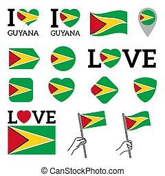 Flag of Guyana. Set of vector Flags.