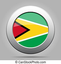 Flag of Guyana. Shiny metal gray round button.
