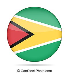 Flag of Guyana. Shiny round button.