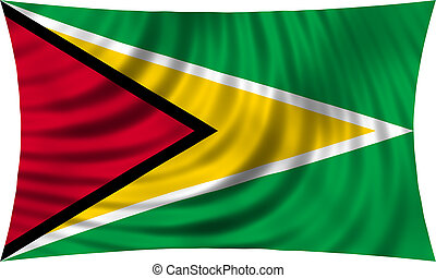 Flag of Guyana waving isolated on white