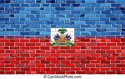 Flag of Haiti on a brick wall