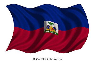 Flag of Haiti wavy on white, fabric texture