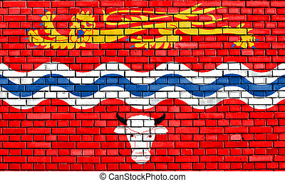 flag of Herefordshire painted on brick wall