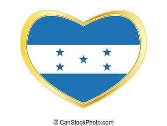 Flag of Honduras in heart shape, golden frame - Honduran...