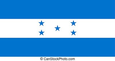 Flag of Honduras in official colors and proportions, vector image.