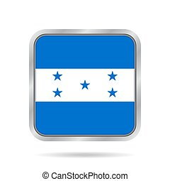 Flag of Honduras. Metallic gray square button.