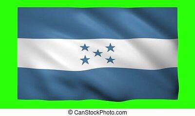 Flag of Honduras on green screen for chroma key
