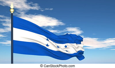Flag Of Honduras on the background of the sky and flying...