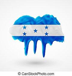 Flag of Honduras painted colors. Blot with paint streaks...