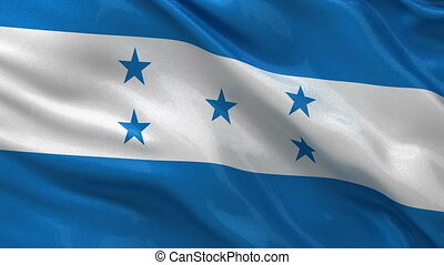 Flag of Honduras seamless loop - Flag of Honduras waving in...
