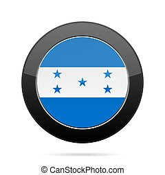 Flag of Honduras. Shiny black round button.