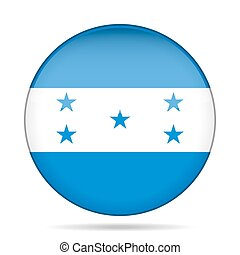 Flag of Honduras. Shiny round button.