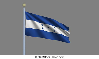 Flag of Honduras with alpha matte - Flag of Honduras waving...