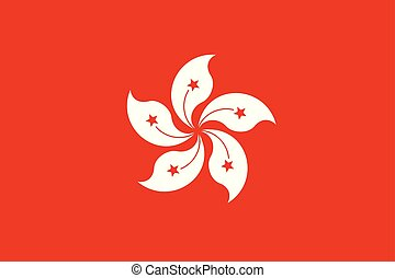 Flag of Hong Kong in official, vector