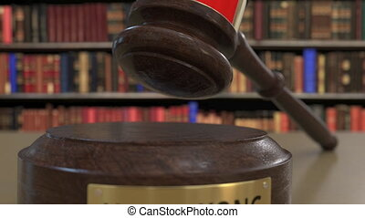 Flag of Hong Kong on falling judges gavel in court. National...