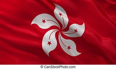 Flag of Hong Kong seamless loop - Flag of Hong Kong gently...