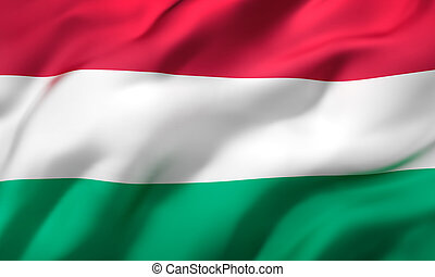 Flag of Hungary blowing in the wind