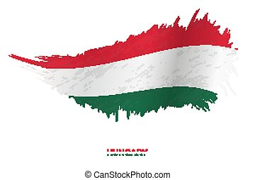 Flag of Hungary in grunge style with waving effect.