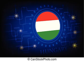 Flag of Hungary on a background of technology.