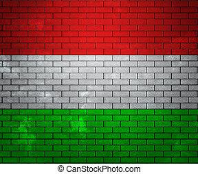 Flag of Hungary on Brick Wall