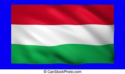 Flag of Hungary on green screen for chroma key
