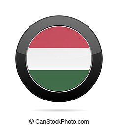 Flag of Hungary. Shiny black round button.