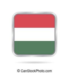 flag of Hungary, shiny metallic gray square button