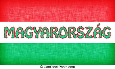 Flag of Hungary stitched with letters