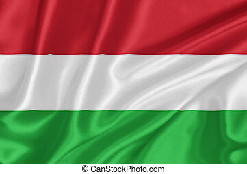 Flag of Hungary waving with highly detailed textile texture ...