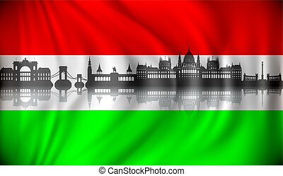 Flag of Hungary with Budapest skyline