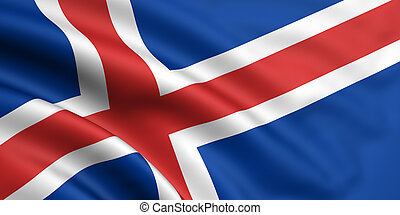 Flag Of Iceland - 3d rendered and waving flag of iceland