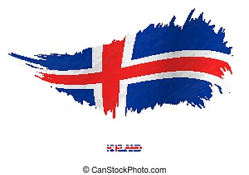Flag of Iceland in grunge style with waving effect.