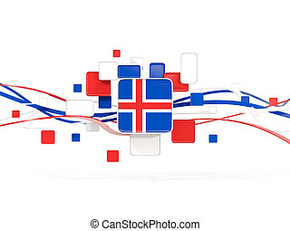 Flag of iceland, mosaic background with lines