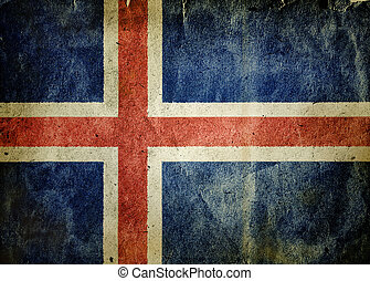 flag of Iceland. Old vintage paper texture.