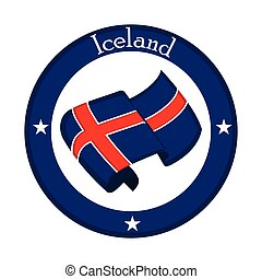 Flag of Iceland on a label